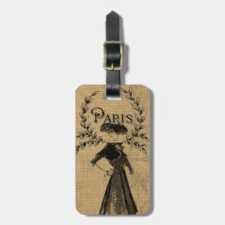 Madame classique vintage de Paris Étiquette À Bagage