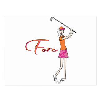 Madame Collection de plage de Golfer_Palm Cartes Postales