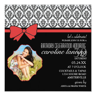 Madame dans l'invitation rouge de photo carton d'invitation  13,33 cm