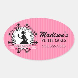 Madame élégante Silhouette Pink de boulangerie de Sticker Ovale
