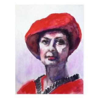 Madame en rouge cartes postales