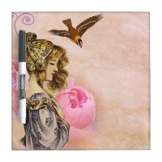 Madame et oiseau tableau effaçable à sec