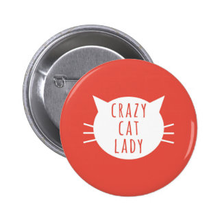 Madame folle Funny Button Red de chat Badge Rond 5 Cm
