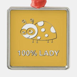 Madame Ladybug de 100 pour cent Ornement Carré Argenté