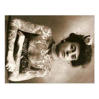 Madame tatouée avec le cirque de cru de carte post carte postale