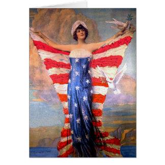 Madame vintage de drapeau américain patriotique de carte