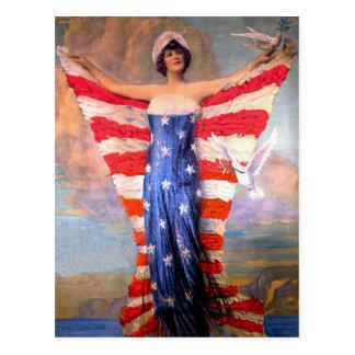 Madame vintage de drapeau américain patriotique de carte postale