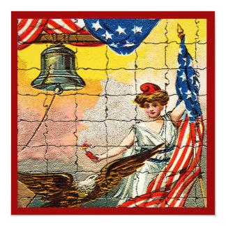 Madame vintage, Eagle, drapeau et Liberty Bell Carton D'invitation 13,33 Cm