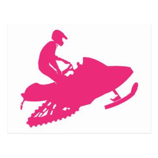 Magenta-Snowmobiler Carte Postale