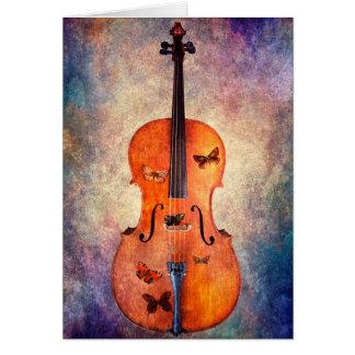 Magische cello met vlinders briefkaarten 0