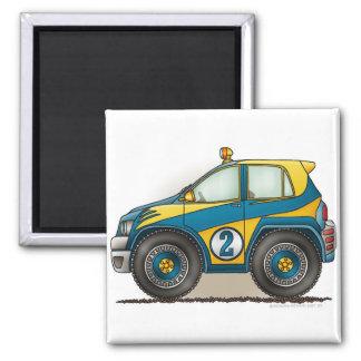 Magnet bleu de voiture de rassemblement magnet carré