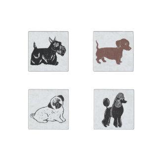Magnet de pierre de marbre d'art de chien réglé