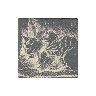 Magnet En Pierre Art néerlandais vintage : Deux chats de sommeil