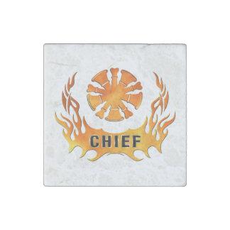 Magnet En Pierre Chef des pompiers de flammes
