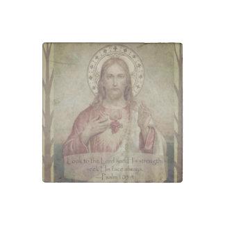 Magnet En Pierre Coeur sacré de citation d'écriture sainte de Jésus