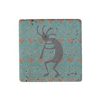 Magnet En Pierre Conception Kokopelli de sud-ouest de turquoise