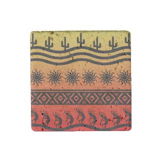Magnet En Pierre Conception tribale de Kokopelli de cactus de Sun
