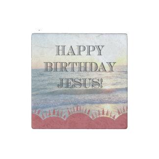 Magnet En Pierre Joyeux anniversaire Jésus au-dessus de l'océan