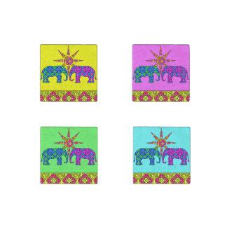 Magnet En Pierre Marbre coloré lumineux lunatique d'éléphants de