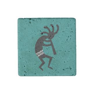 Magnet En Pierre Noir de Kokopelli et conception turquoise