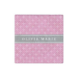 Magnet En Pierre Nom floral rose de gris de motif de treillis