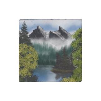 Magnet En Pierre Vue des montagnes brumeuses