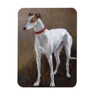 Magnet Flexible Aimant blanc/brindle d'art de chien de lévrier