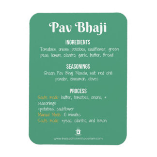 Magnet Flexible Aimant de recette de Pav Bhaji pour le pot