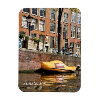 Magnet Flexible Amsterdam, canal, bateau en bois de chaussure
