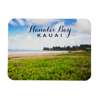 Magnet Flexible Baie de Hanalei, fleurs de plage de Kauai Hawaï