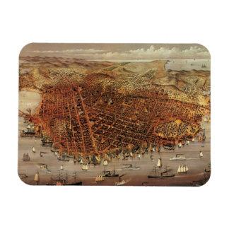 Magnet Flexible Carte aérienne antique de San Francisco, la