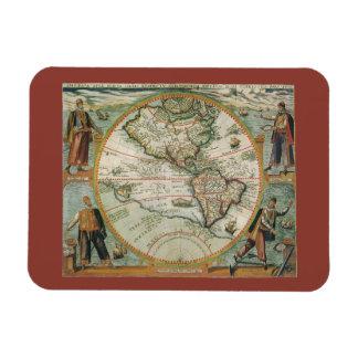 Magnet Flexible Carte de Vieux Monde antique des Amériques, 1597
