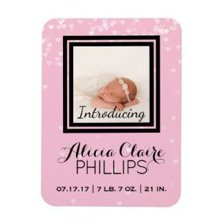 Magnet Flexible Coeurs de rose de bébé du faire-part de naissance