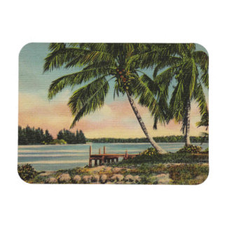 Magnet Flexible Coucher du soleil tropical vintage de palmier