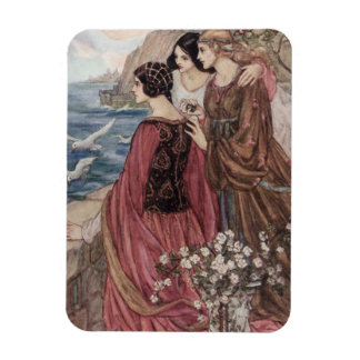Magnet Flexible Cru - trois femmes regardant à la mer,
