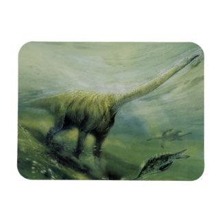 Magnet Flexible Dinosaures vintages, natation de Brachiosaurus