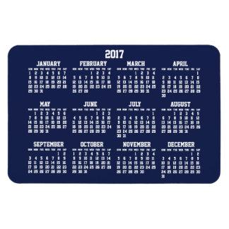 Magnet flexible du calendrier 2017 de bleu marine