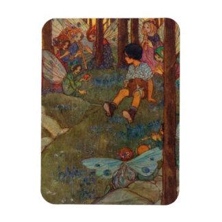 Magnet Flexible L'enfant rencontre des fées de région boisée,