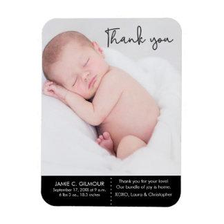 Magnet Flexible Merci et faire-part de naissance de bébé, texte de