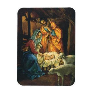 Magnet Flexible Nativité vintage de Noël, bébé Jésus dans Manger