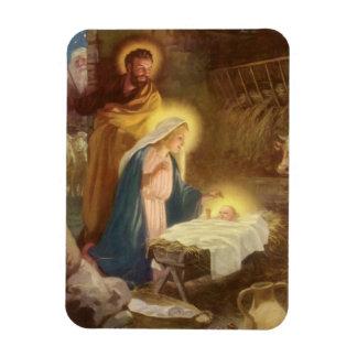Magnet Flexible Nativité vintage de Noël, bébé Jésus de Mary