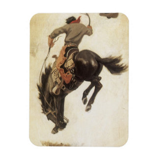 Magnet Flexible Occidental vintage, cowboy sur un cheval