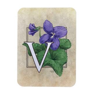 Magnet Flexible V pour le monogramme violet de fleur