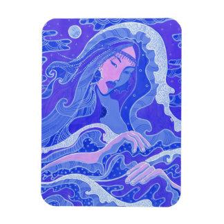 Magnet Flexible Vague, sirène, fille d'art d'imaginaire, bleu et