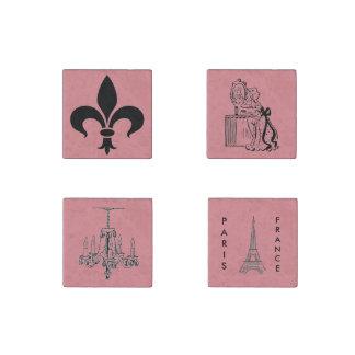 Magnet orienté français rose de Paris réglé