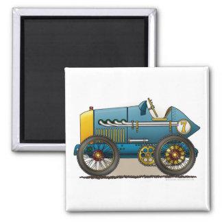 Magnet vintage bleu de voiture de course magnet carré