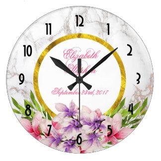 Magnolias d'aquarelle, mariage de marbre de grande horloge ronde