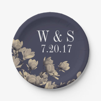 Magnolias du sud et mariage bleu de minuit assiettes en papier