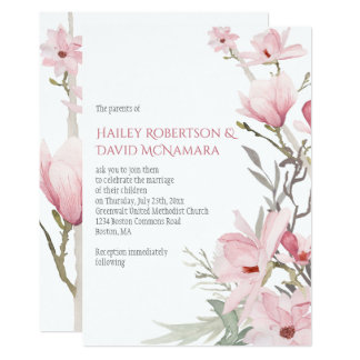 Magnolias et invitations roses de mariage de