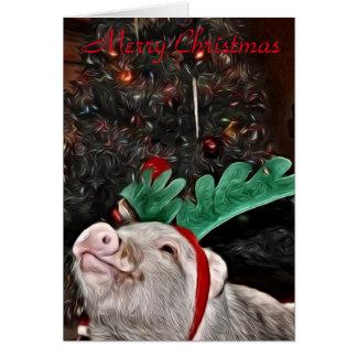 Carte Mai l'esprit de Noël, carte de voeux de porc